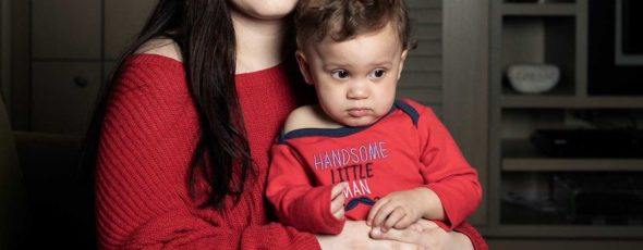 Kristin Simpson with her son, Omarion Jordan, whose gene therapy treatment Bloomberg | James Alexander Michie